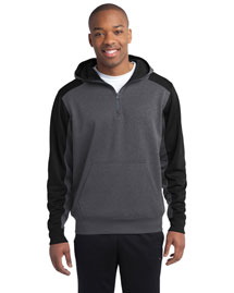 Sport-Tek ST249 Men Colorblock Tech Fleece 1/4zip Hooded Sweatshirt