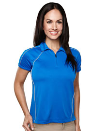 Womens 100% Polyester Knit Polo Shirts.