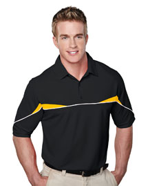 Mens SS Knit Polo Shirt, w/ Self Collar, Piping and Contrast Inserts