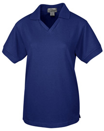 Tri-Mountain 101 Womens 60/40 v-neck pique golf shirt. at bigntallapparel