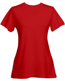Tri-Mountain 130 Womens cotton jersey short sleeve v-neck knit. at bigntallapparel