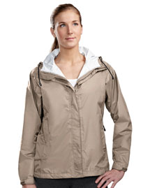 Women waterproof jacket with front zippered pockets.