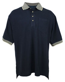 Big and Tall Mens  Pique Pocketed Polo Golf Shirt With Jacquard Trim