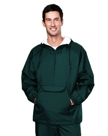 Mens Nylon 1/4 Zip Anorak Hooded Jacket with Flannel Lining