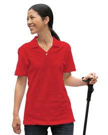 Tri-Mountain 386 Womens organic cotton pique y-neck golf shirt. at bigntallapparel
