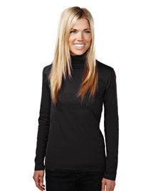 Womens Cotton/Poly 60/40 Mock Neck LS Knit Pullover