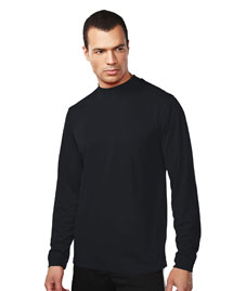 Men's 100% Polyester LS Knit Mock Neck Shirt, w/ Self Cuff