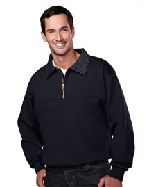Mens Cotton/Poly 1/4 Zip Firefighters Work Shirt with Denim