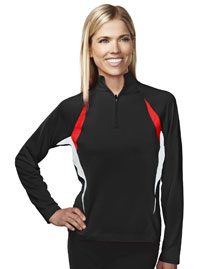 Womens 88% Polyester 12% Spandex Knit Quarter Zipper Pullover,
