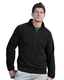 Mens 100% Polyester Anti-pilling Dobby Fleece 1/2 Zip LS Knit Shirt.