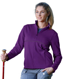 Womens 100% Polyester Micro Fleece Knit Jacket, w/ Piping & Reflective.