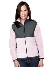 Womens panda fleece jacket with nylon paneling.