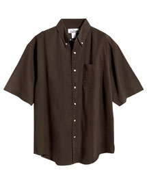 Mens Stain Resistant Short Sleeve Twill Dress Shirt