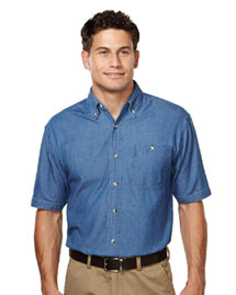 Tri-Mountain 828 Mens Denim Short Sleeve Shirt at bigntallapparel