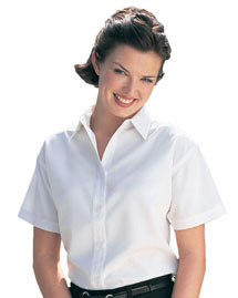 Womens rayon/poly short sleeve shirt with mini-houndstooth pattern.