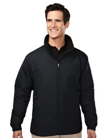 Men's 100% polyester long sleeve jacket with water resistent .