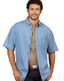 UltraClub 8965 Mens S/S Denm Shirt at bigntallapparel