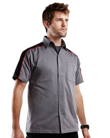 Mens 60% cotton 40% polyester short sleeves twill shirt