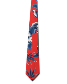 Blue Generation BLG1296 Mens Hibiscus Tropical Tie at bigntallapparel