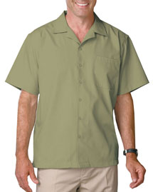 Mens Short Sleeve Solid Campshirt 65/35 Poly/Cotton