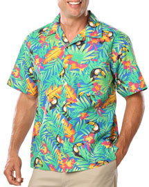 Mens Unisex Tropical Print Campshirt