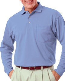 Mens Long Sleeve Superblend Pique with Pocket