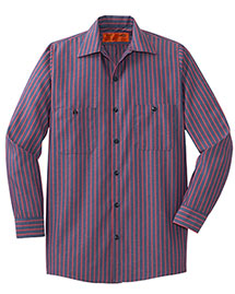 Mens Long Sleeve Striped Industrial Work Shirt