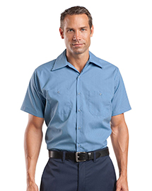 CornerStone CS20 Mens Short Sleeve Striped Industrial Work Shirt at bigntallapparel