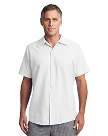 Mens Short Sleeve Pocketless Snap Work Shirt