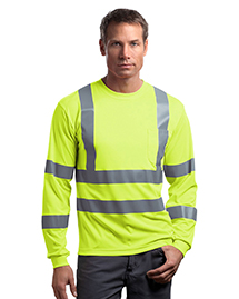 CornerStone CS409 Mens ANSI Class 3 Long Sleeve Snag Resistant Reflective T Shirt at bigntallapparel
