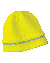 Mens Safety Beanie with Reflective Stripe