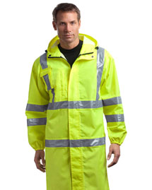CornerStone CSJ23 Mens ANSI Class 3 Long Waterproof Rain Coat at bigntallapparel