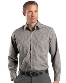 Mens Long Sleeve Microcheck Industrial Work Shirt