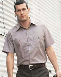 Mens Short Sleeve Microcheck Industrial Work Shirt