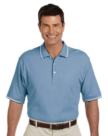 Mens Pima Pique Short Sleeve Tipped Polo