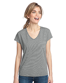 Ladies Mini Stripe Dolman V-Neck Tee. DM422