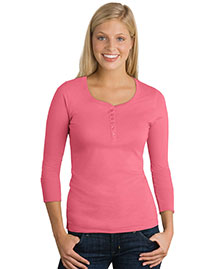 NEW District Threads® - Junior Ladies 3/4-Sleeve Perfect Weight Scoop Henley. DT213