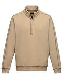 Tri-Mountain F692 Men's 60% Cotton/40% Polyester 1/4 zip pullover with on seam pockets, rib cuff & bottom. at bigntallapparel