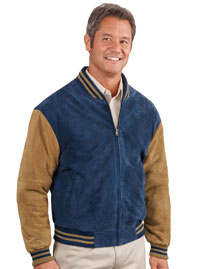 Mens Sueded Leather Letterman Jacket