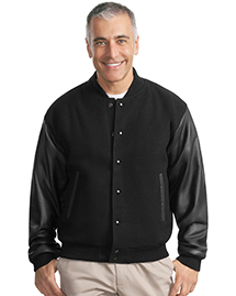 Port Authority J783 Mens Wool And Leather Letterman Jacket at bigntallapparel