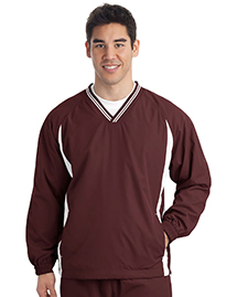 Sport-Tek JST62 Mens Tipped V Neck Raglan Wind Shirt at bigntallapparel