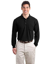 Mens Silk Touch Long Sleeve Polo Sport Shirt with Pocket