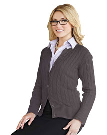 Womens 100% Cotton Long Sleeves Cable Sweater Cardigan.