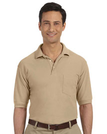 Harriton M265P Mens 5 Oz Easy Blend Polo With Pocket at bigntallapparel
