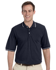 Harriton M270 5.6 Oz. Tipped Easy Blend Polo at bigntallapparel