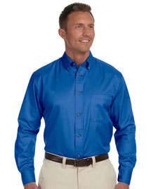 Harriton M500 Mens Long Sleeve Twill Shirt with Stain-Release at bigntallapparel