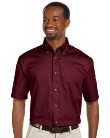 Harriton M500S Mens Short Sleeve Twill Shirt with Stain-Release at bigntallapparel