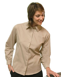 Harriton M520W Ladies' 4.5 Oz. Long-Sleeve Millennium Twill Shirt at bigntallapparel
