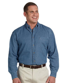 Harriton M550 Mens 65 Oz Long Sleeve Denim Shirt at bigntallapparel
