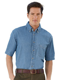 Harriton M550S Mens 65 Oz Short Sleeve Denim Shirt at bigntallapparel